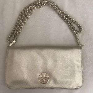 Tory Burch gold leather clutch on chain